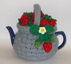 "Tea cozy. Teapot cosy. Crochet tea cozy. Knitted tea cosy. Tea Party. Tea Gifts .Tea cosies ""Basket with strawberries"". Tea cozies."