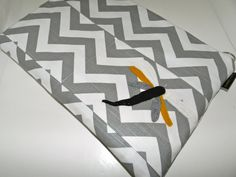 Mac Book Laptop sleeve 15 INCH / Zipper close,  PC shoulder bag, Removable  Strap, Gray and white Chevron dragonfly applique,  by Darby Mack. $42.00, via Etsy.