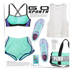 """Go Sporty In Aqua!"" by katrinaalice ❤ liked on Polyvore featuring See by Chloé, Victoria's Secret, Skechers and Anja"