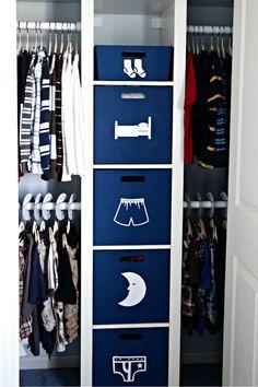 20 Ways to Keep Kid Stuff Organized: Graphic labels for closet storage