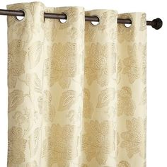 The shimmering gold woven pattern and neutral background on this floral window panel combine to convey a sense of easy elegance. Fully lined, it'll admit just enough light to keep a room bright while maintaining privacy. Ooooh, and here's an idea: Use one pair or more to give your space a seasonal mini-makeover.