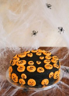 This fudgy chocolate cake with orange frosting is perfect for Halloween!
