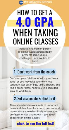 As colleges and universities are transitioning to online classes, many students are unfamiliar with taking classes online or feel like they are more distracting. Here are 8 tips to help you focus and get a GPA!