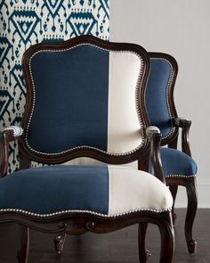 Shop Madison & Michael Colorblock Bergere Chairs from Massoud at Horchow, where you'll find new lower shipping on hundreds of home furnishings and gifts. Furniture, Dinning Chairs, Living Room Chairs, Chair Makeover, Living Room Decor, Upholstered Furniture, Chair And Ottoman, Furniture Design, Upholstered Chairs