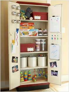 A Closet with Toys, Craft Supplies, Storage Containers and White Boards