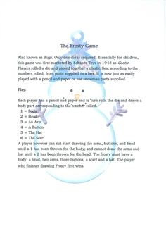 Free printable ~Frosty the Snowman game by Lotsa Stuff!