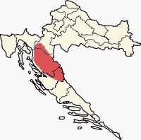 """~~} """"Lika (highlighted) on a map of Croatia where my Serbian parents are from."""""""