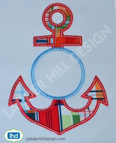 Monogram Anchor Applique Machine Embroidery Design - Nautical Applique Embroidery - Summer Applique Embroidery WA010EE