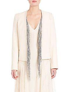 Foundrae Two-Piece Fringe-Detail Leather Jacket - Cream - Size
