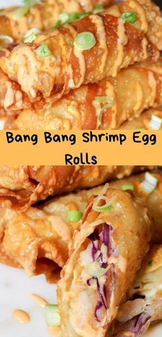 Bake or fry these Bang Bang Shrimp eggrolls to make an irresistible gluten-free snack. Shrimp Appetizers, Appetizer Recipes, Dinner Recipes, Shrimp Egg Rolls, Asian Recipes, Healthy Recipes, Asian Foods, Homemade Egg Rolls, Bang Bang Shrimp