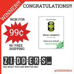 #Congratulations rshadow13 for winning this Stud Finder for only 99¢! Want to #win your own? Check out www.zidders.com/?utm_content=buffer9a228&utm_medium=social&utm_source=pinterest.com&utm_campaign=buffer #zidderswinners  See all of our items for 99¢ w/ #FREE shipping!
