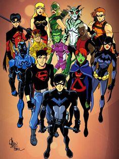 Young Justice Characters, Young Justice Comic, Young Justice League, Dc Characters, Young Justice Season 2, Arte Dc Comics, Dc Comics Superheroes, Batman Comics, Nightwing