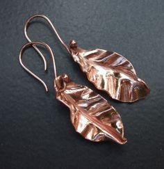 Foldformed Raw Copper Autumn Leaf Drop Earrings by ASilverDream, £18.99