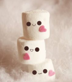 Kawaii Marshmallows - I just love their cute little faces Image Swag, Cute Marshmallows, Marshmellow Treats, Marshmallow Face, Marshmallow Recipes, Everything Pink, Pastel Cupcakes, Cute Food, Cute Wallpapers