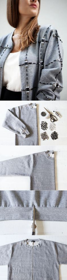 Take a plain old sweatshirt to the next level, a diamond cardigan. DIY FASHION P. Take a plain old sweatshirt to the next level, a diamond cardigan. DIY FASHION P… Take a plain old sweatshirt to the next level, a diamond cardigan. Diy Pullover, Alter Pullover, Diy Clothing, Sewing Clothes, Clothes Crafts, Diy Fashion Projects, Fashion Ideas, Sewing Projects, Fashion Inspiration