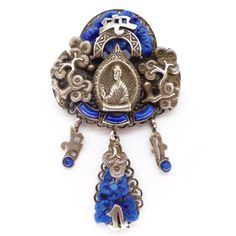 Vintage Czech Art Deco Neiger Brothers Lapis Blue Glass Buddha Pin Brooch | Clarice Jewellery