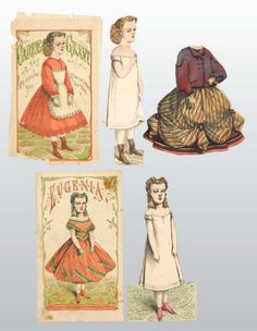"""4  McLoughlin Paper Dolls  """"Carrie Grant"""", """"Jessie Jones"""", """"Victoria"""", and """"Eugenia"""". No set is complete."""