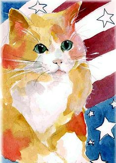 All American Cat Painting by Sylvia Pimental