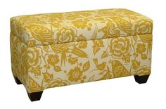 Skyline Furniture Walnut Hill Storage Bench in Canary Maize Fabric:Amazon:Home & Kitchen