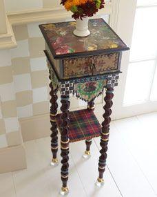 Dark Tiny Table- cigar box with legs