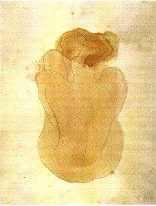 Femme nue assise et de dos . Rodin . 1899