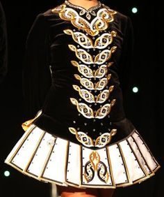 black and gold.- example of small repeated motif Celtic Knot Designs, Irish Eyes, Irish Dance, Fashion Black, Dance Dresses, Dance Costumes, Types Of Fashion Styles, Melbourne, Ireland