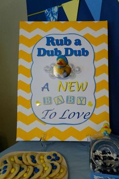 Rubber ducky baby shower sign! See more party planning ideas at CatchMyParty.com!