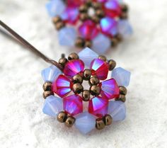 Mini Pink and Periwinkle Crystal Flower Earrings by LainaLacy, $13.00