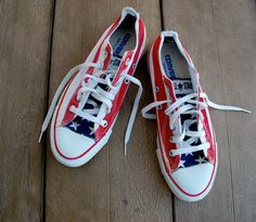 Vintage American Flag Converse All Star Sneakers - Made in the USA - Stars and Bars 80s 4th Fourth of July on Etsy, $145.00