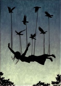 woman flying with birds - Google Search