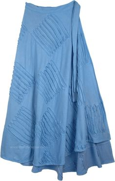 Azure Blue Razor Cut Long Wrap Skirt TLB - Cotton Blue Clothing > Wrap Around Patchwork Cotton Long Skirt (Wrap-Around-Skirt) Wrap Around Skirt in Gentle Fabric - This is a solid color wrapper style skirt in soft breathable heavyweight t-shirt-like fabric Hippie Skirts, Bohemian Skirt, Gypsy Skirt, Boho Skirts, Boho Hippie, Skirt Fashion, Boho Fashion, Blue Skirt Outfits, Bohemian Style Clothing