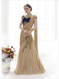 Beige Party Wear Net Saree