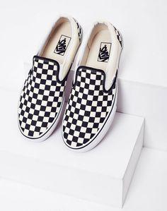 Vans - Slip-On Leinenschuhe Black & White Check Cute Vans, Cute Shoes, Me Too Shoes, Vans Sneakers, Comment Porter Des Vans, Basket Vans, How To Wear Vans, Fresh Shoes, Plimsolls