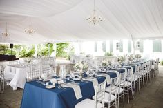 Blue and Cream Outdoor Reception Decor | photography by http://www.ameliaanddan.com | floral, rentals, linens, and lighting by http://www.shopoutofhand.com/