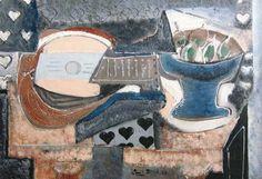 Emil Filla (1882-1953), Podnos s hruškami a mandolina, 1930, olej, plátno, 65 x 92 cm