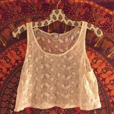 Boho lace tank top Perfect condition! Makes such a cute beach cover up or summer top! Forever 21 Tops Tank Tops