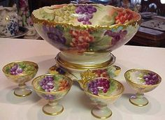 Tressemann & Vogt Limoges Punch bowl, base and cups. The bowl and base are molded in the Venice blank. Fine Porcelain, Porcelain Ceramics, Painted Porcelain, Limoges China, Punch Bowl Set, Chocolate Pots, Vintage China, Vintage Dishes, Antique China