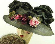 VINTAGE-HAT-1910-EDWARDIAN-SISAL-TITANIC-HAT-w-HUGE-BOWS-ROSES-HAT-PIN