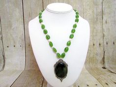 Jade Pendant Necklace with Pearls. - J13 - by daksdesigns on Etsy
