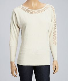 This Beige Sheer Panel Wool-Blend Dolman Top is perfect! #zulilyfinds
