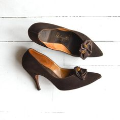 7ed73e297b1 Vintage 1950s soft brushed leather stilettos in chocolate brown with silk  bow and amber rhinestones at the toebox. --- M E A S U R E M E N T S ---