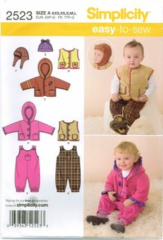 MAKE BABY GIRL~BOY OUTFIT OVERALLS~JACKET~HAT~VEST PREEMIE~XL SEWING PATTERN