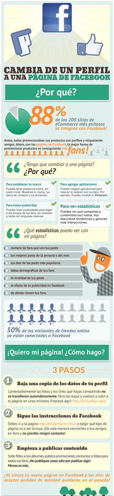 Ventajas de una página frente a un perfil en Facebook. #Infografía