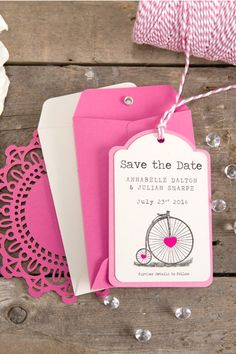 Cerise wedding Save the Date tags