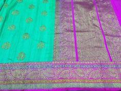 Caribbean green Banaras dupion silk with deep magenta border and butties with antiq gold zari