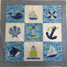 Nautical Baby Quilt in Blue, Green and White from http://www.HomeSewnByCarolyn.com