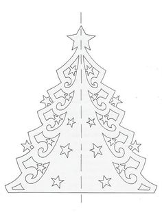 How To Knit: Kirigami Christmas tree, Christmas ornaments Christmas Paper Crafts, Christmas Projects, Holiday Crafts, Christmas Crafts, Christmas Ornaments, Christmas Trees, Christmas Decorations, Christmas Templates, Christmas Printables