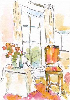 Quai Aux Fleurs - Paris Art Print by Pat Katz Watercolor Sketchbook, Pen And Watercolor, Art Sketchbook, Watercolor Paintings, Watercolors, Fashion Sketchbook, Paris Painting, Pen And Wash, Watercolor Pictures