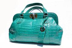 Vintage Skins - XXL Early 2000's DARK TURQUOISE Crocodile Belly Skin Handbag Shoulder Bag, $1,475.00 (http://vintageskins.com/xxl-early-2000s-dark-turquoise-crocodile-belly-skin-handbag-shoulder-bag/)