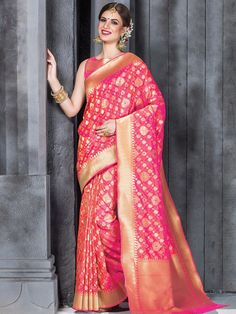 Amazing Pink Wedding Wear Silk Sari for price whatsApp +91-9913433322